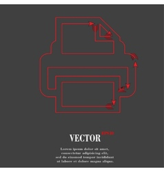 Printer flat modern web button and space for your vector
