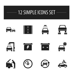set of 12 editable vehicle icons includes symbols vector image