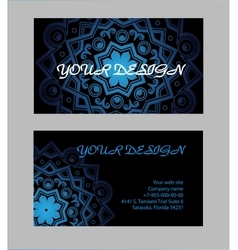 Set of business cards with black background vector image vector image