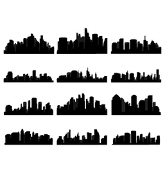 set of city skyline vector image