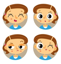 Set of four young girl emotions vector image