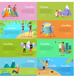 Set of people on vacation flat web banners vector