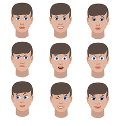 Set of variation of emotions of the same guy vector image vector image
