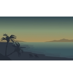 Silhouette of beach at summer holiday with fog vector image vector image