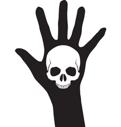 Skull on the hand vector image vector image