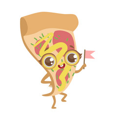 Slice of pizza cute anime humanized cartoon food vector