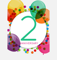 Template 2 years anniversary congratulations vector