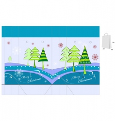 template for Christmas bag design vector image