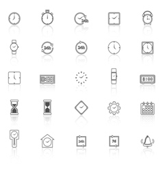 Time line icons with reflect on white background vector