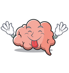 tongue out brain character cartoon mascot vector image
