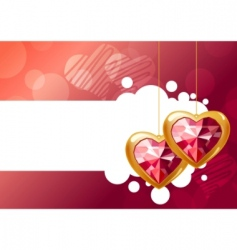 Two hanging hearts vector