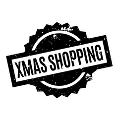 xmas shopping rubber stamp vector image vector image