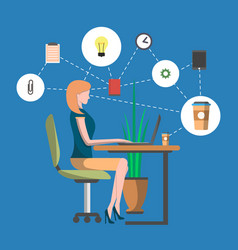 Young woman in office workplace infographics vector