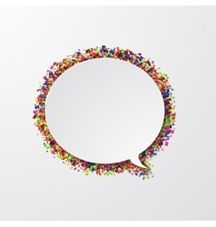 Modern bubble speech with confetti on white vector