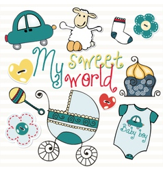 Lovely elements for baby boy vector