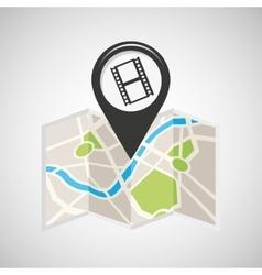 Cinema map pin pointer design vector