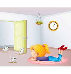 A girl inside a room with cats vector image