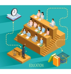 University education concept isometric poster vector