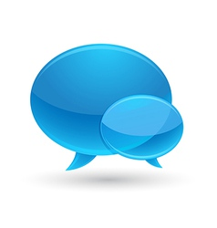 Blue glass speech bubbles icon vector