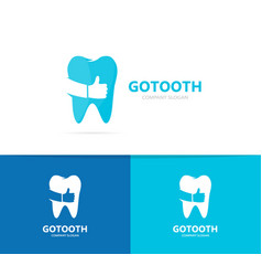 tooth and like logo combination dental vector image