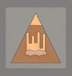 Flat shading style icon mountain avalanche vector