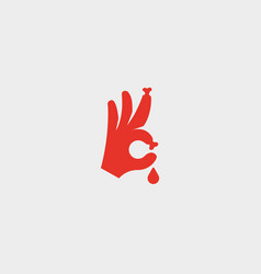 bones fingers sign hand ok blood symbol vector image