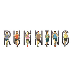 running text font design marathon runners vector image