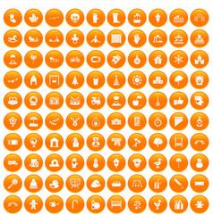 100 kindergarten icons set orange vector