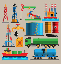 Oil extraction transportation industry production vector