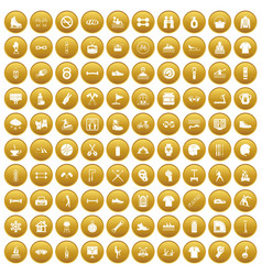 100 sport life icons set gold vector