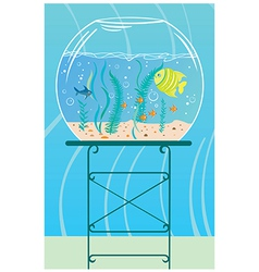 Aquarium with small fishes vector
