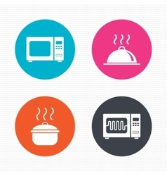 Microwave oven icon cooking pan food serving vector