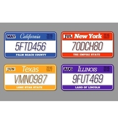 License car number plates set california vector