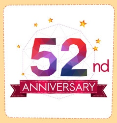 Colorful polygonal anniversary logo 2 052 vector