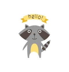 Cute raccoon with a sign for text vector