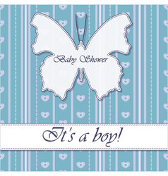 Striped-background-baby-shower-butterfly-blue vector