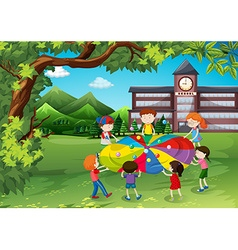 Children playing in the school yard vector