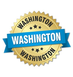 Washington round golden badge with blue ribbon vector