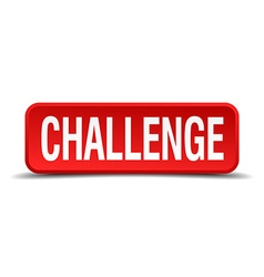 Challenge red 3d square button on white background vector