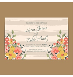 Wedding invitation flowers and pink stripes vector