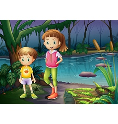 A boy and a girl standing in the middle of the vector image