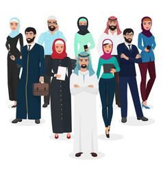Arab muslim business people teamwork arabic vector