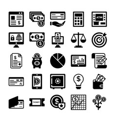 Banking and finance line icons 3 vector