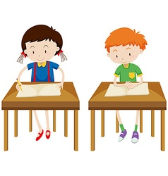 Boy and girl studying at their tables vector image vector image