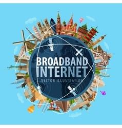 Broadband internet logo design template vector