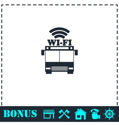 Bus wi-fi icon flat vector