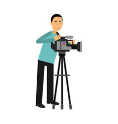 Cameraman character looking through a movie camera vector
