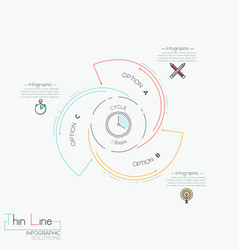 Circular infographic design template with 3 spiral vector