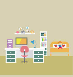 Creative office room interior workspace vector