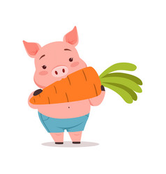 cute pig eating carrot funny cartoon animal vector image vector image